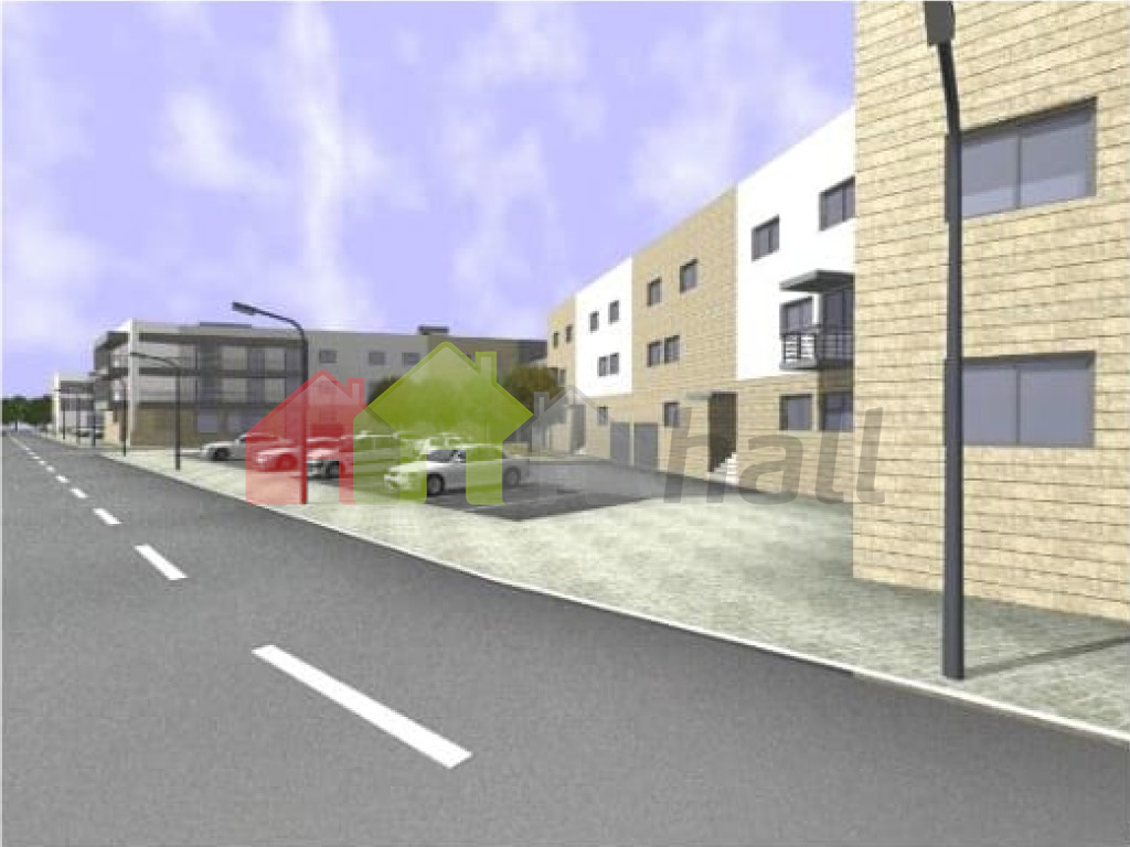 Projeto 3D com arruamentos e estacionamento exterior